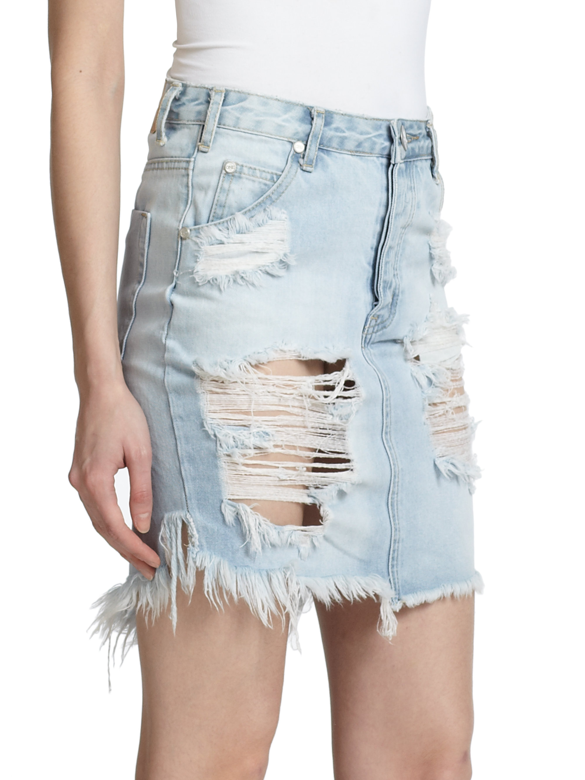 Distressed Jean Mini Skirt | Fashion Skirts