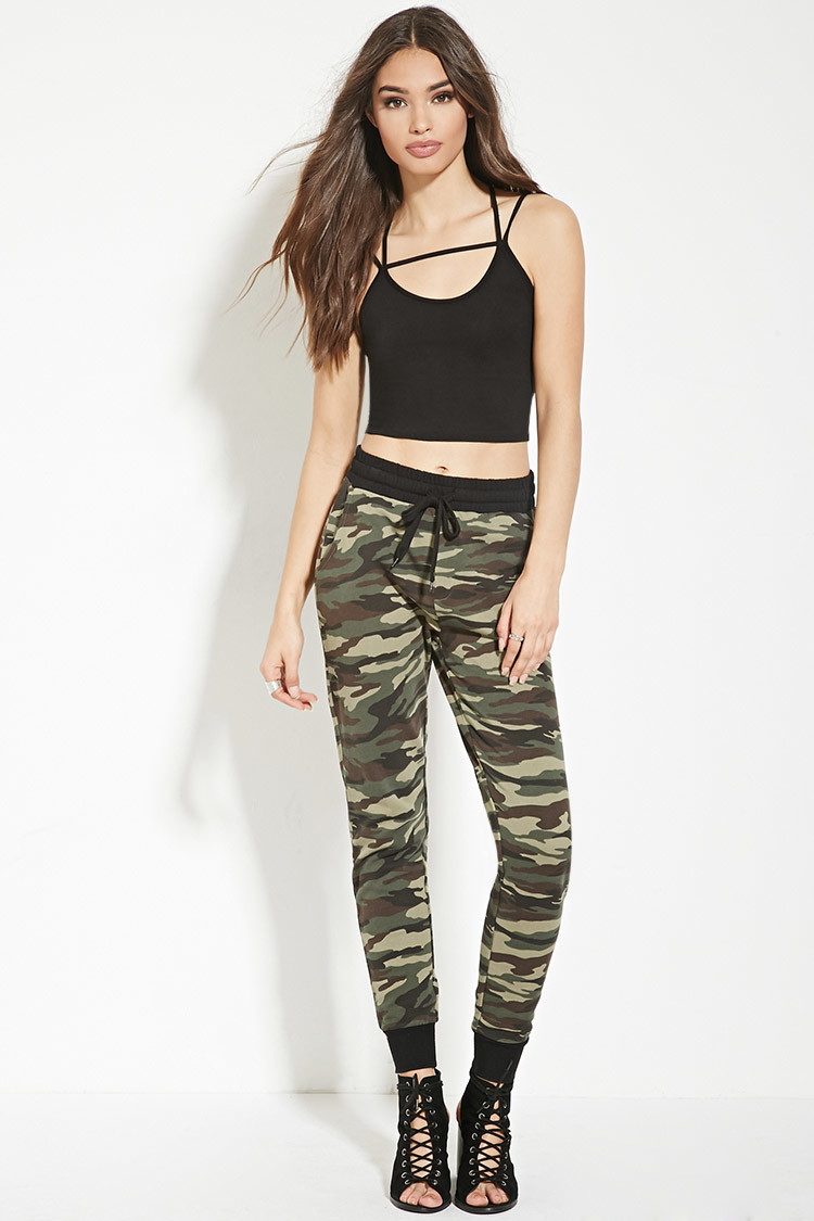 Simple Forever 21 Studded Camo Skinny Jeans In Green (olive/black ...