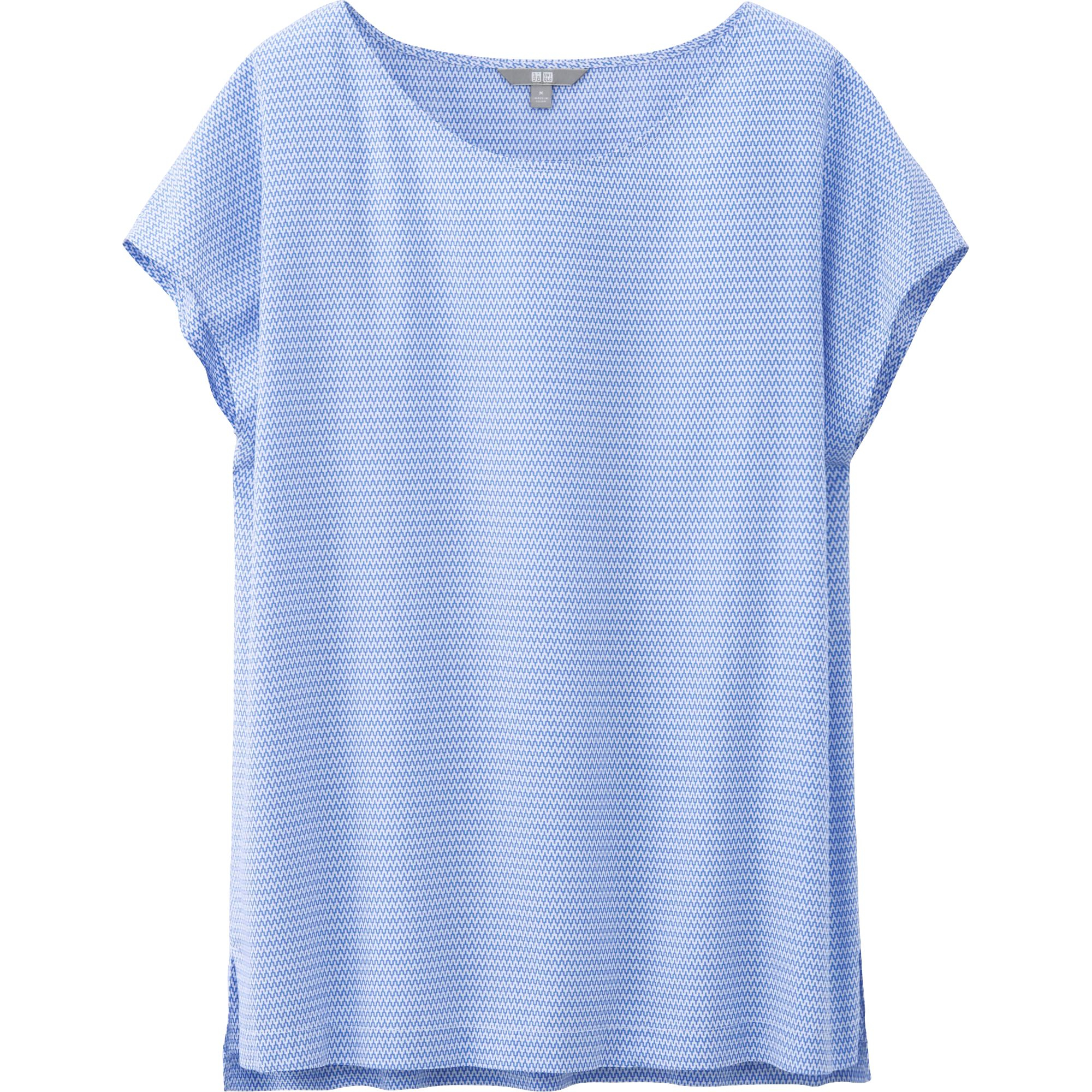 Womens Blue Short Sleeve Blouse - Long Blouse With Pants