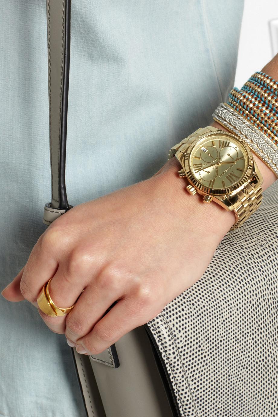 83f24445d97e9 Lyst - Michael Kors Lexington Gold-Tone Watch in Metallic