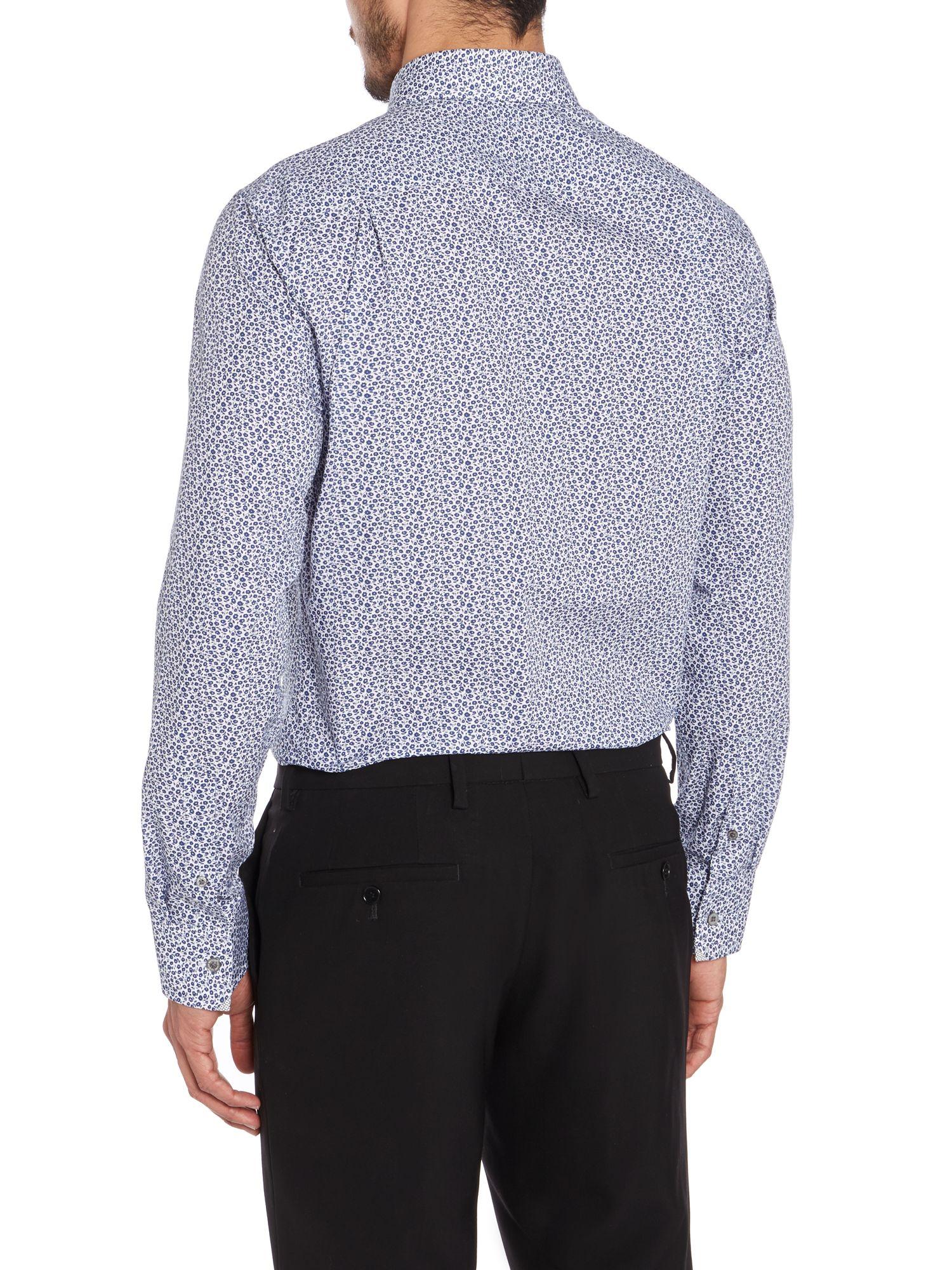 Lyst ted baker thronez regular fit floral shirt in pink for Ted baker floral shirt