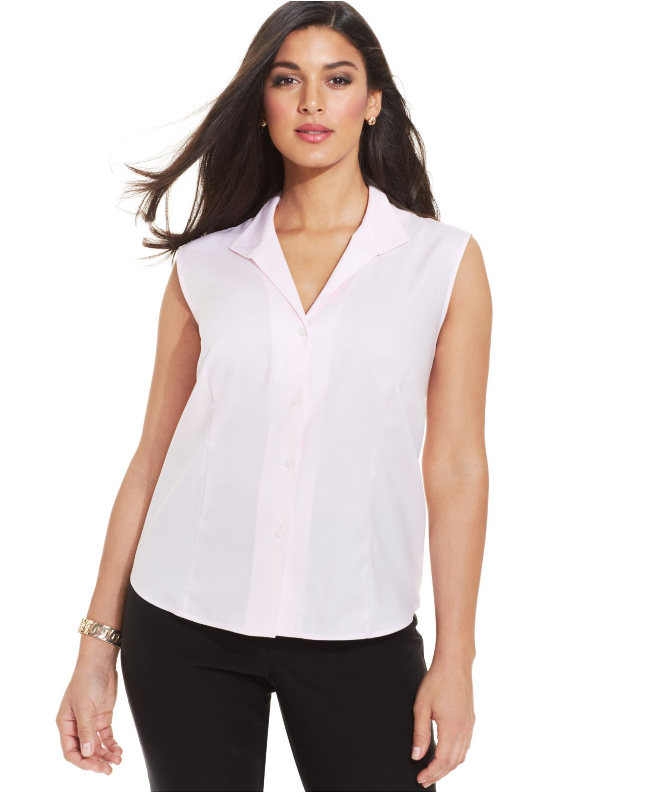 Jones new york collection plus size easy care sleeveless for New york and company dress shirts