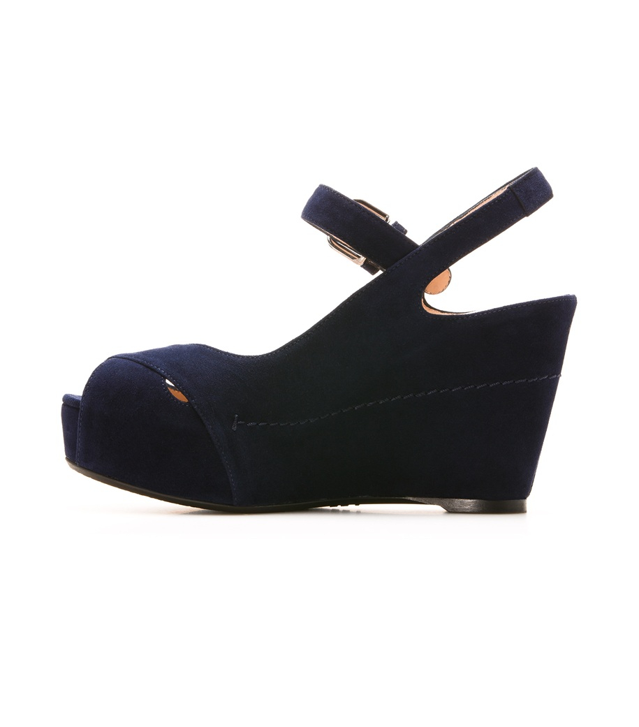 Lyst Stuart Weitzman The Turnover Wedge In Blue