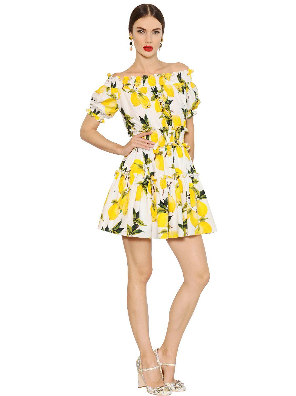 Lyst Dolce Amp Gabbana Lemon Printed Cotton Poplin Dress
