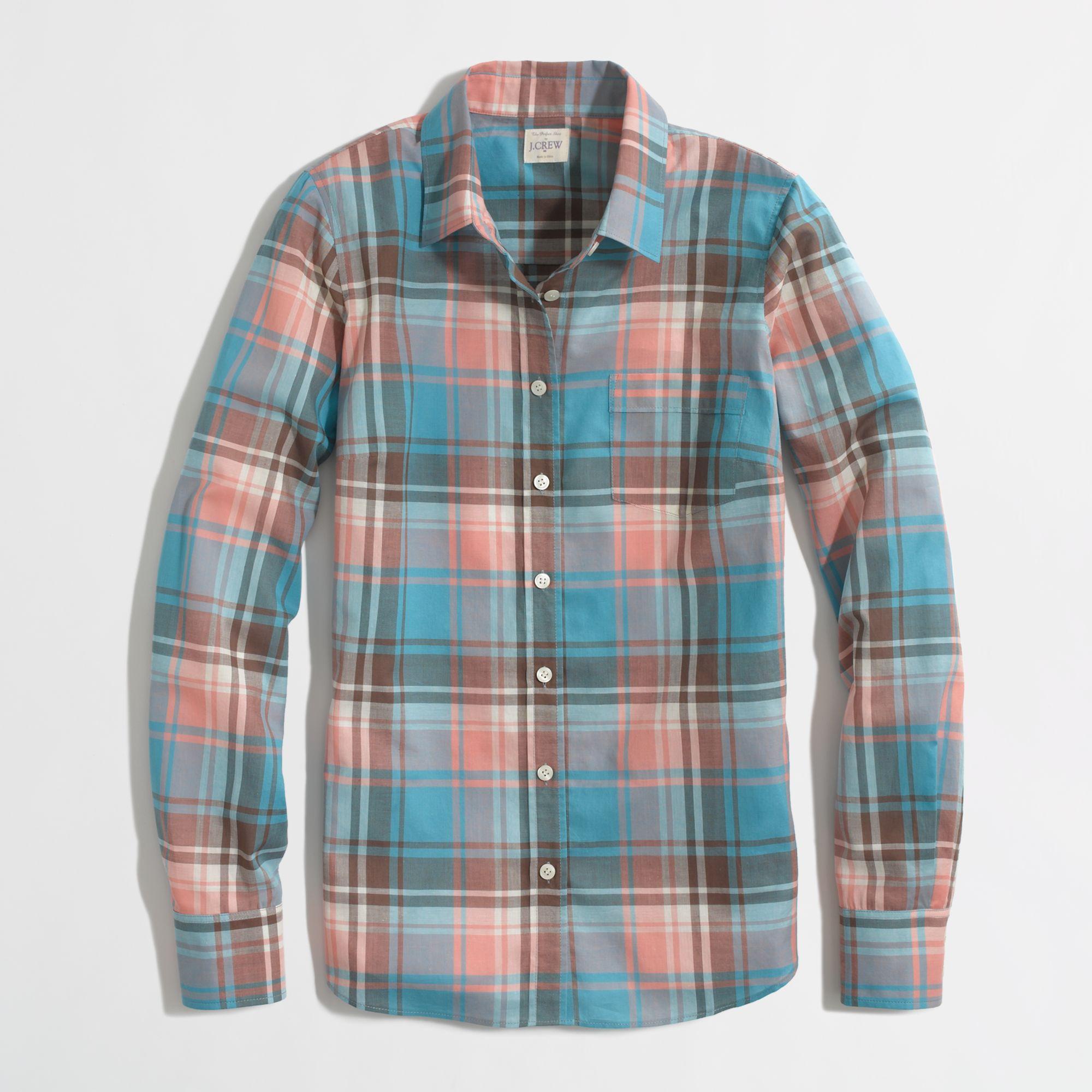 1cc42b63 J.Crew Factory Classic Button-down Shirt in Plaid in Blue - Lyst