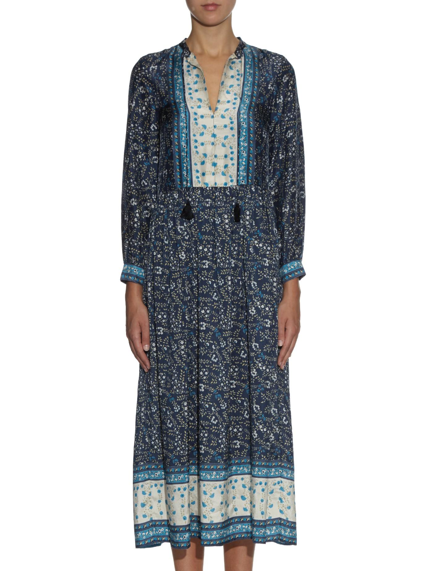 long-sleeved floral dress - Blue Masscob goJZSfB