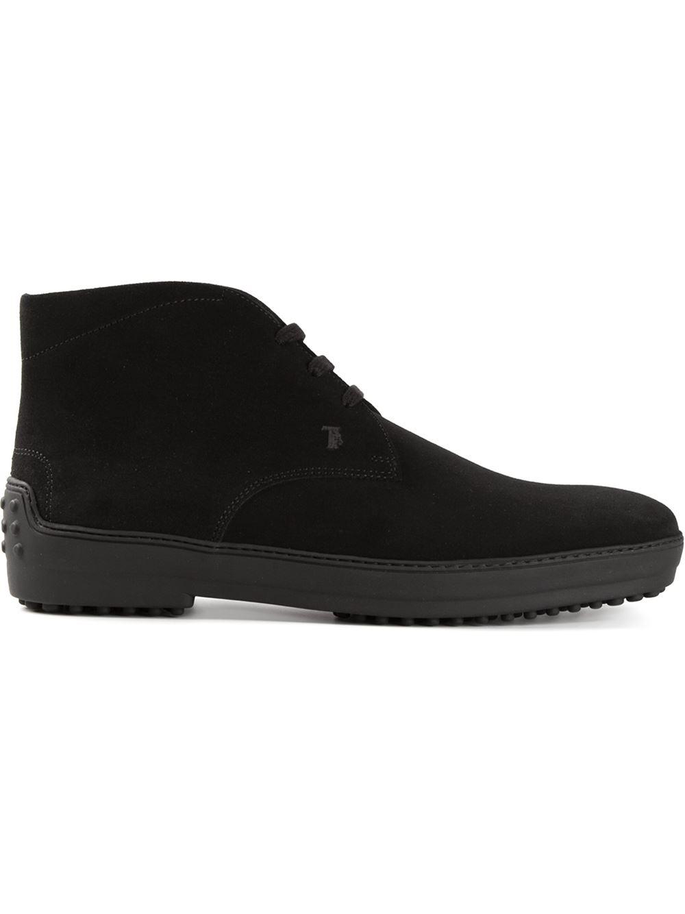 tod 39 s desert boots in black for men lyst. Black Bedroom Furniture Sets. Home Design Ideas