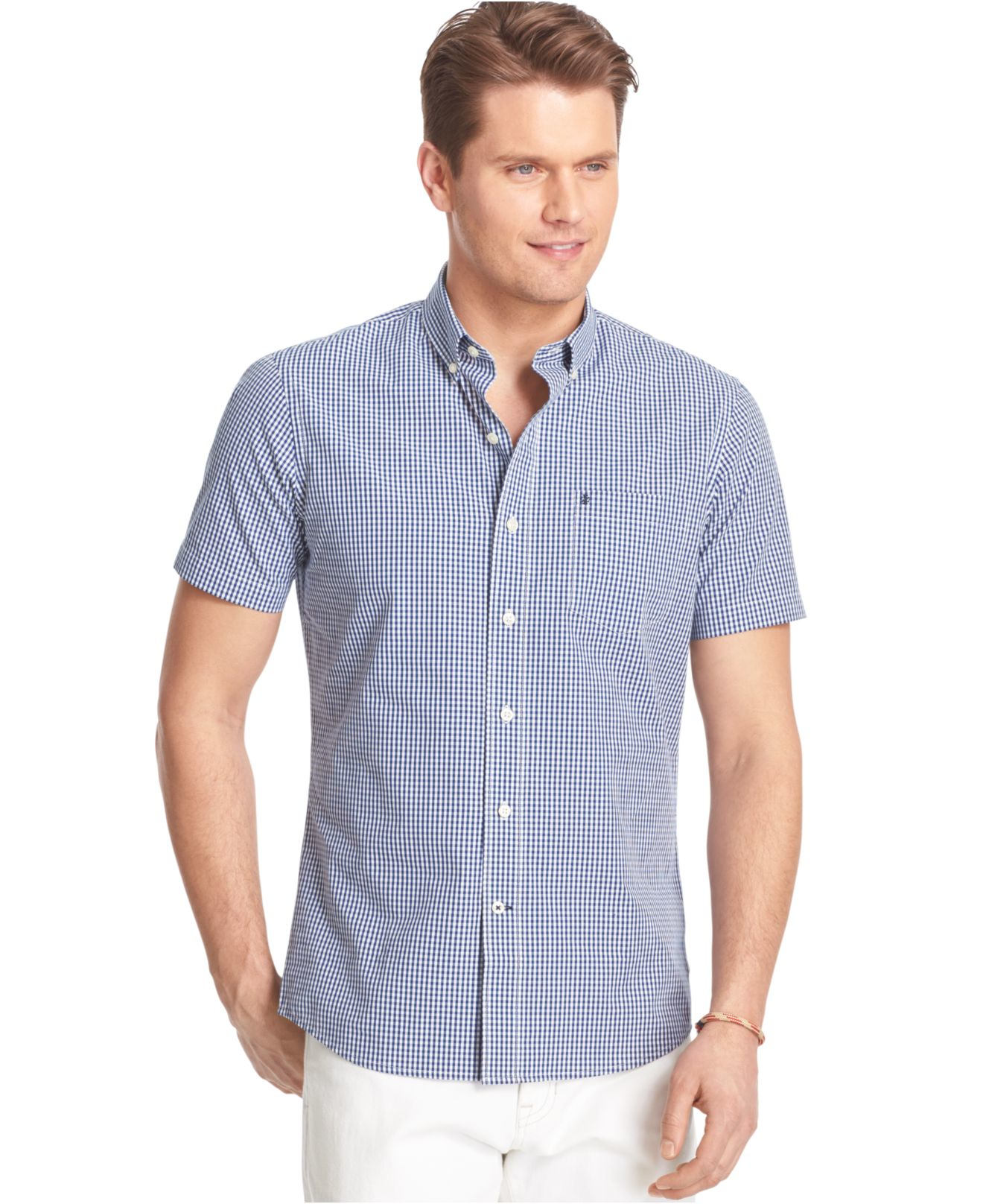 Izod Big And Tall Short Sleeve Gingham Poplin Shirt In