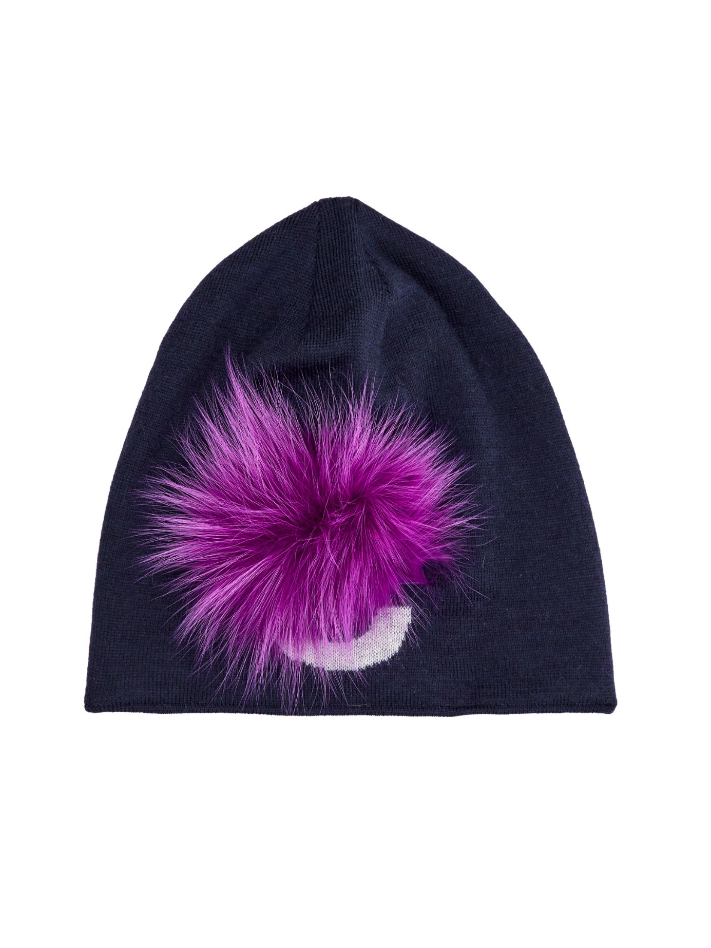 a793898c4d8 Lyst - Fendi Fur Detail Wool-Knit Beanie Hat in Blue