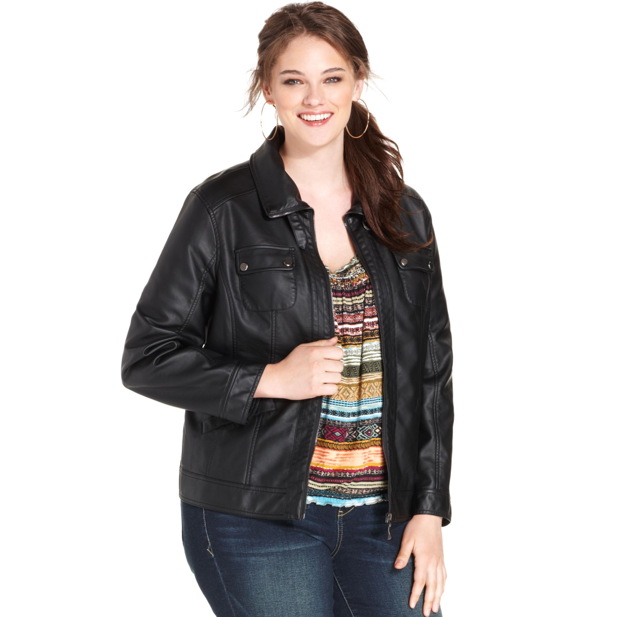 Plus size leather bomber jacket