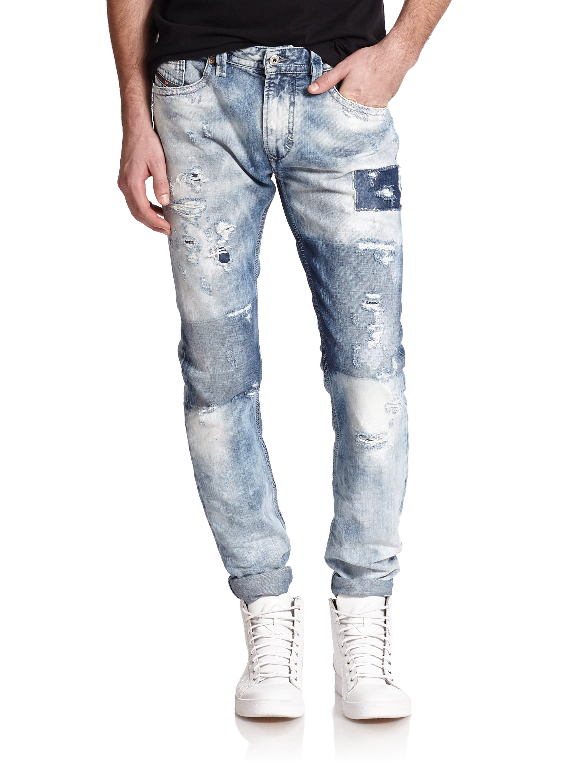 c34effa310 Lyst - DIESEL Thavar Distressed Patchwork Slim-fit Jeans in Blue for Men