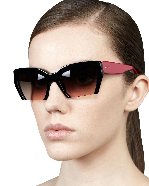 b8c12bacc9 Miu Miu Rasoir Cutoff Square Sunglasses in Pink - Lyst