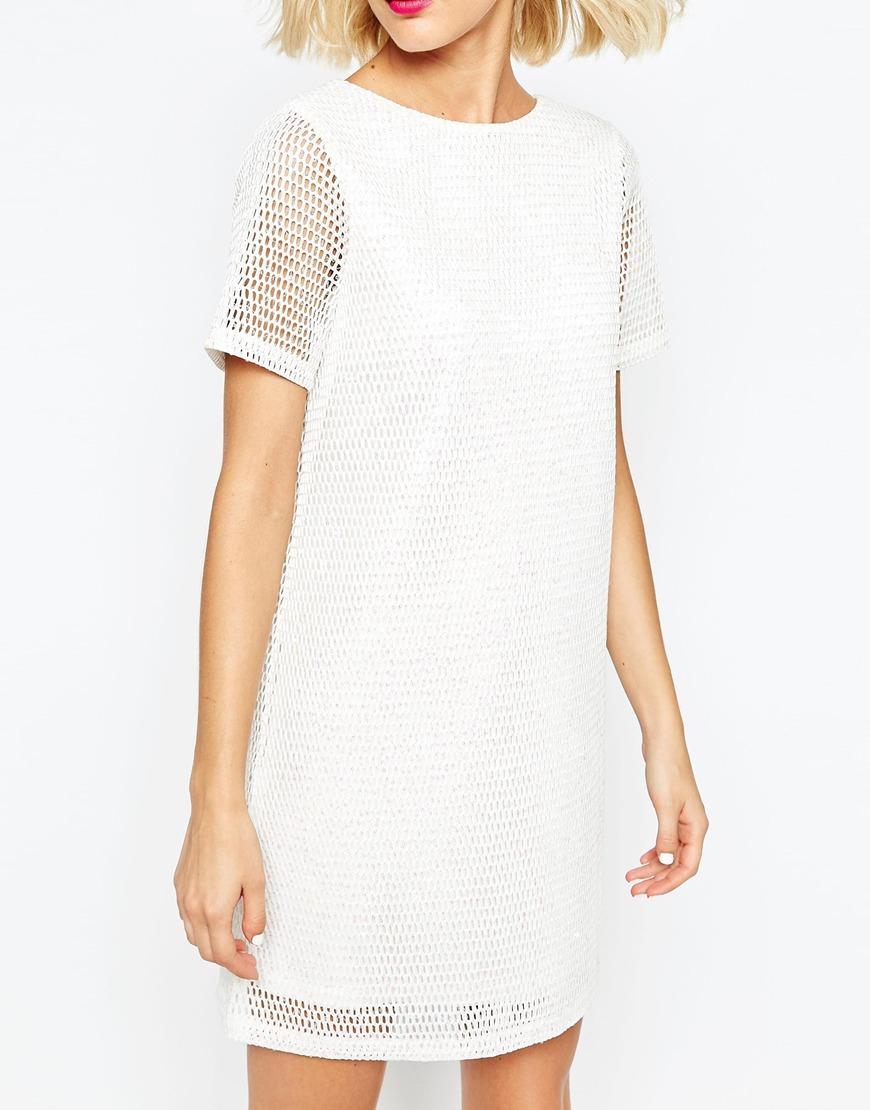 Asos Sequin T-shirt Dress in White | Lyst