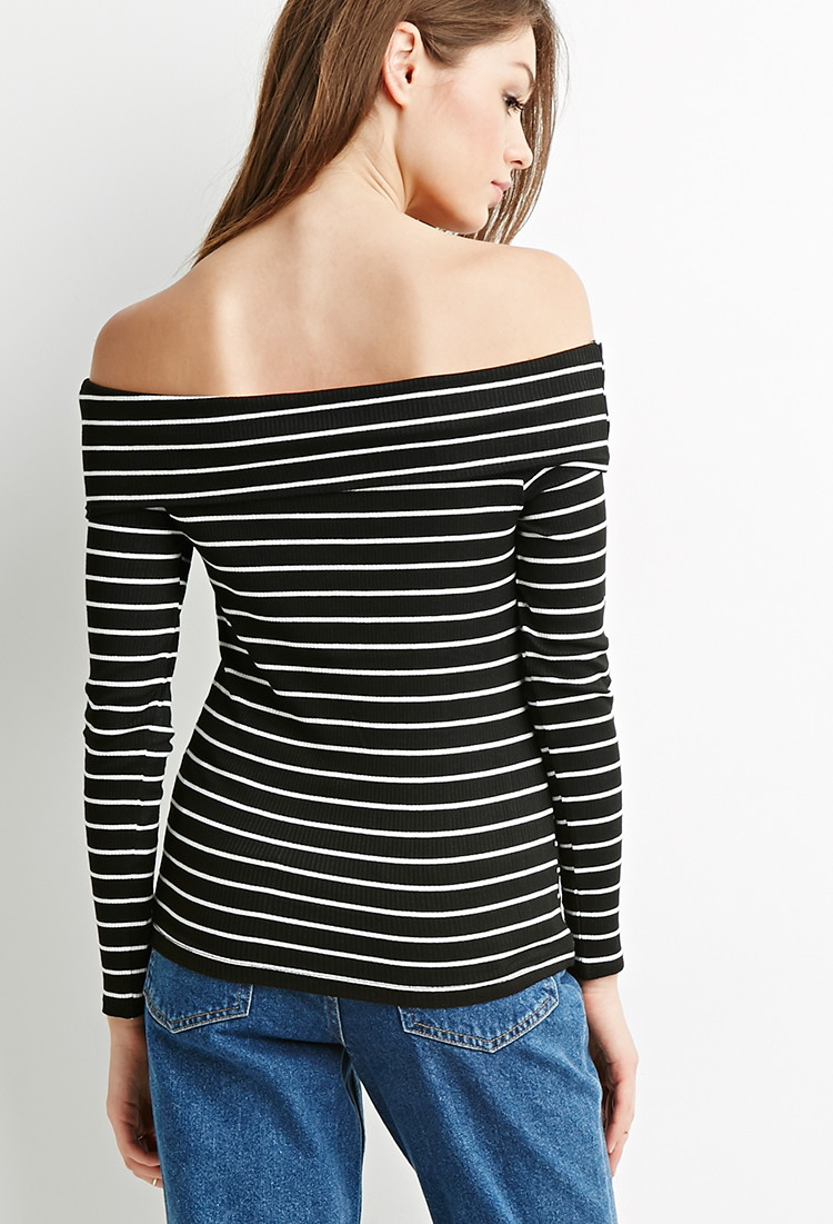 2b5c139c8d88e3 Lyst - Forever 21 Striped Off-the-shoulder Ribbed Top in Black