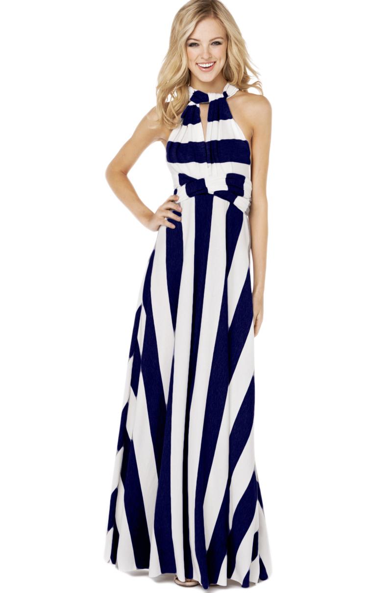 Lyst Akira Maxi Multi Function Dress In Navy White In Blue