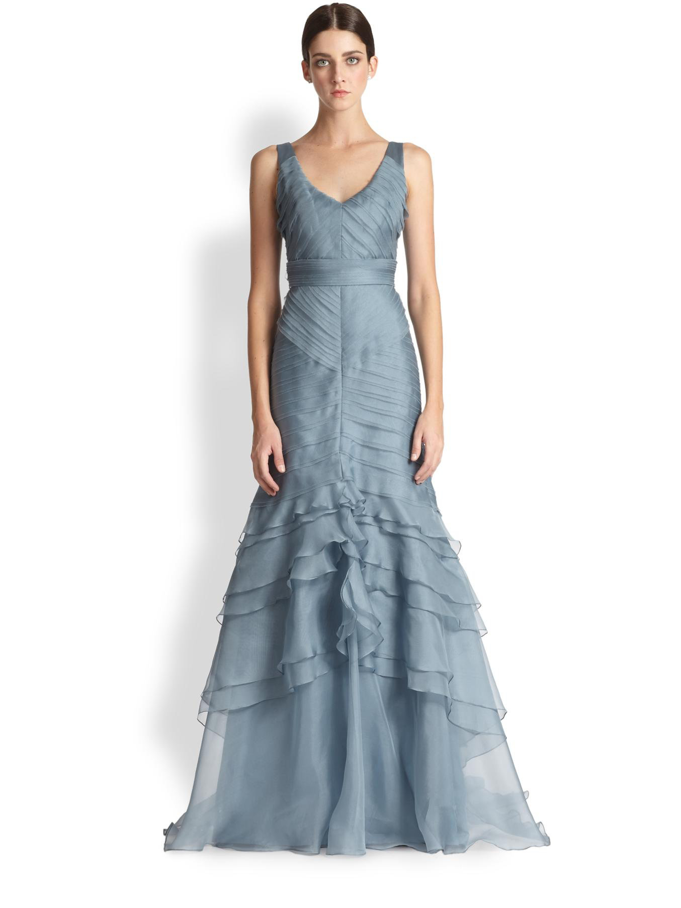 Lyst - Theia Layered Silk Organza Gown in Blue