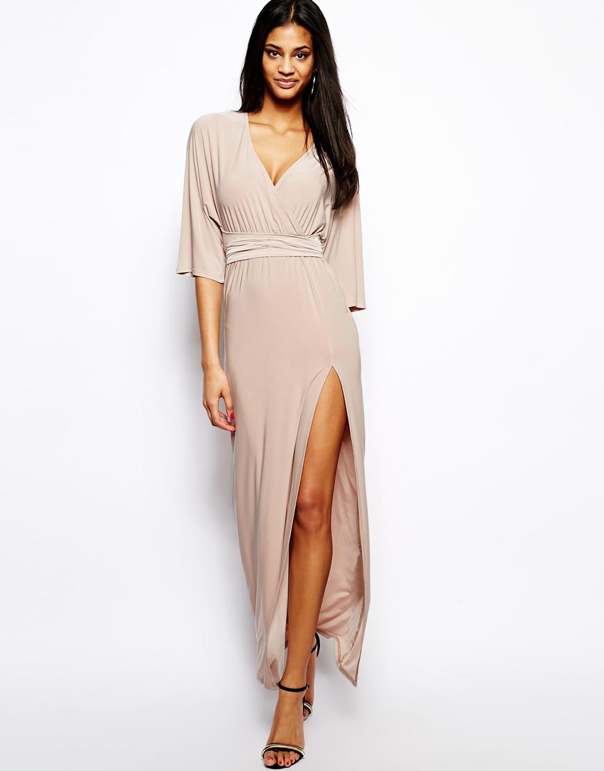 Asos Kimono Wrap Maxi Dress in Natural  Lyst
