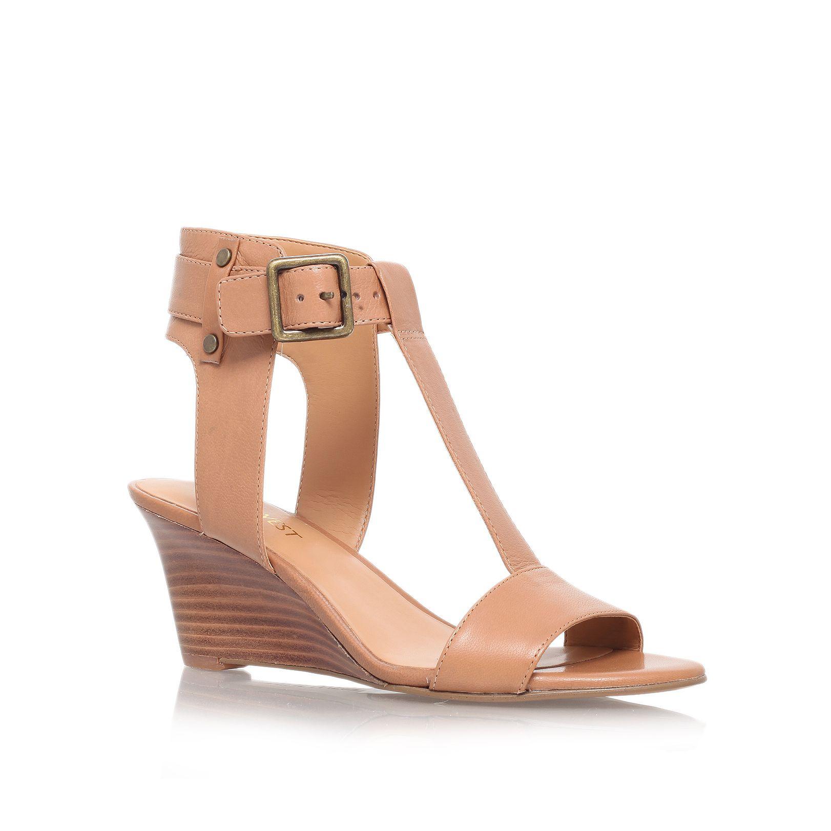 Nine west Rileigh Low Wedge Heel Sandals in Brown | Lyst