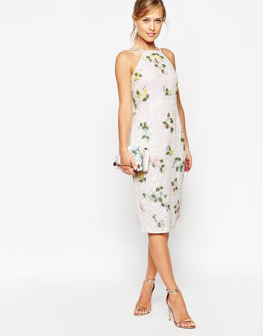 Asos wedding embellished floral drape back pencil midi dress - Asos Wedding Embellished Floral Drape Back Pencil Midi Dress 10