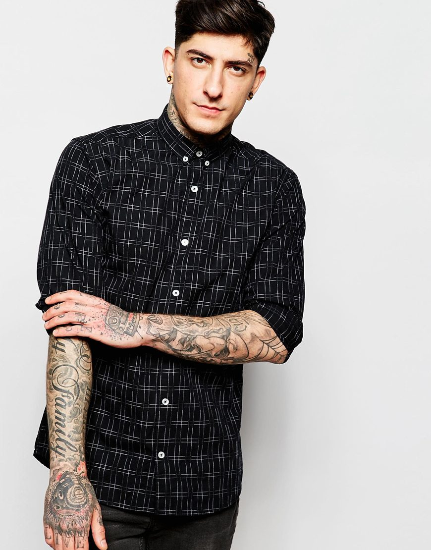 Lyst - Lindbergh Shirt With Grid Pattern in Black for Men