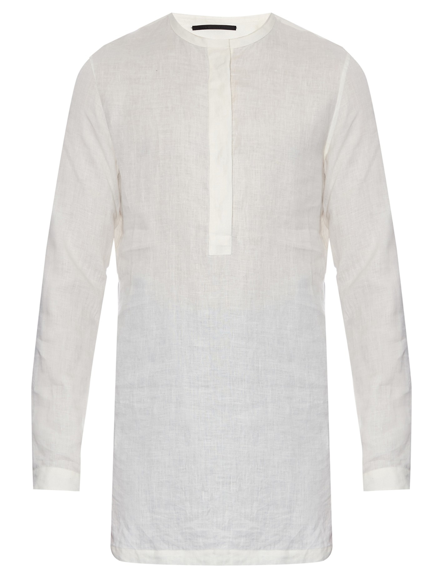 Haider ackermann ewodi collarless linen shirt in white for for Collarless shirts for men