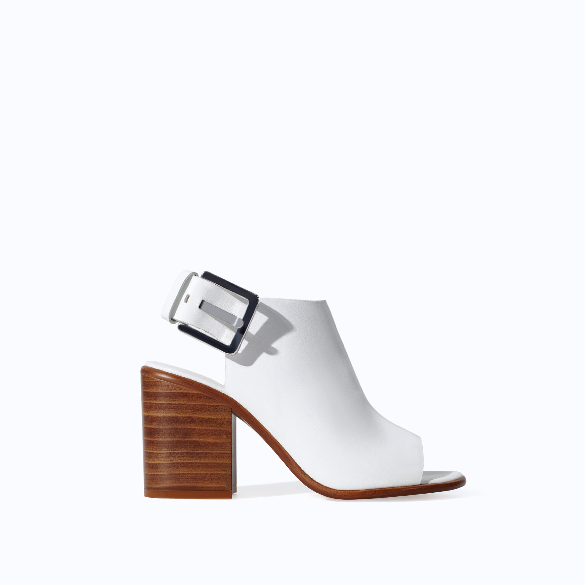 zara leather block heel ankle boot style sandal in white