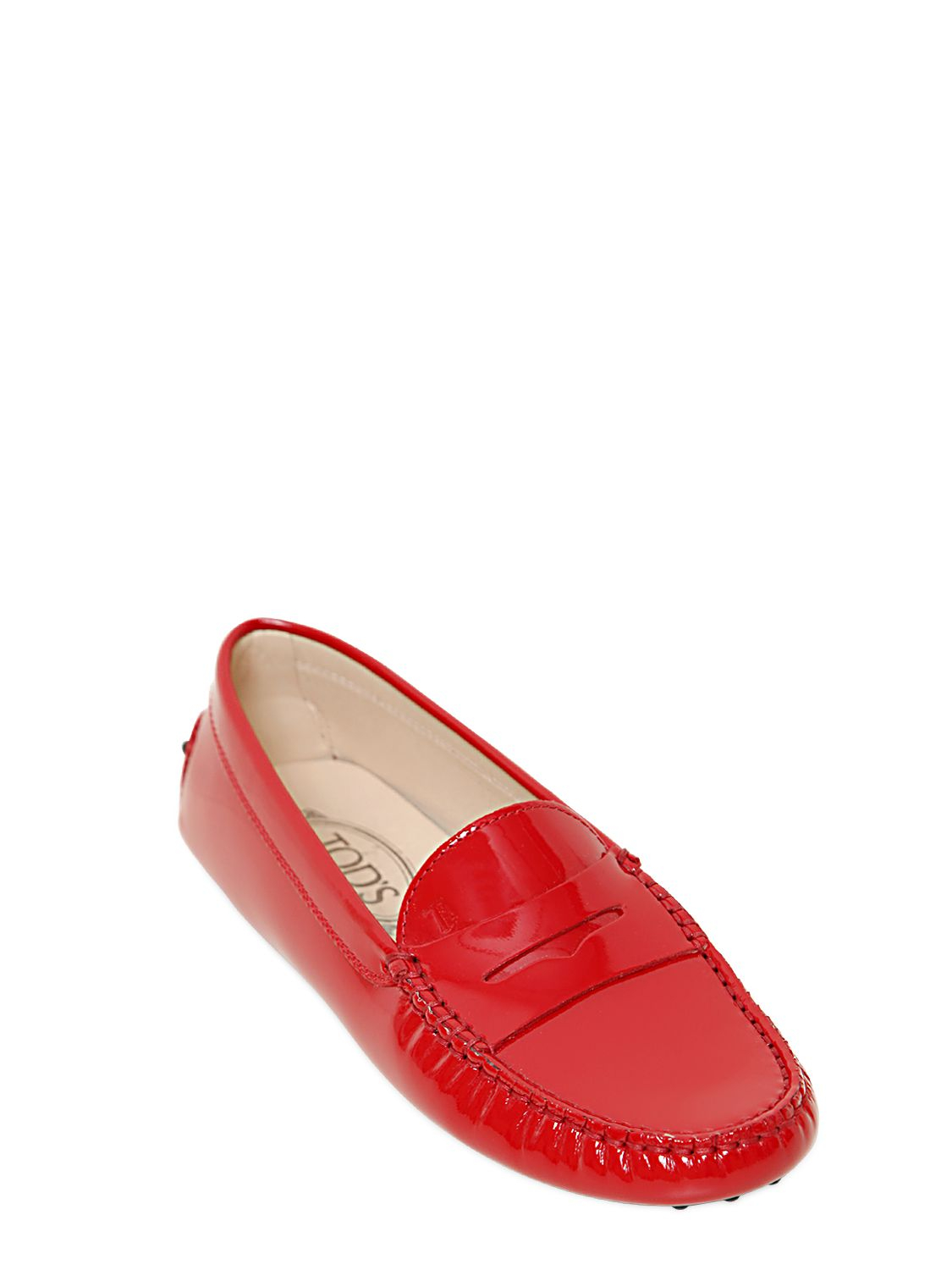 bde511bd3b2 Lyst - Tod s Patent Leather Gommino Loafers in Red