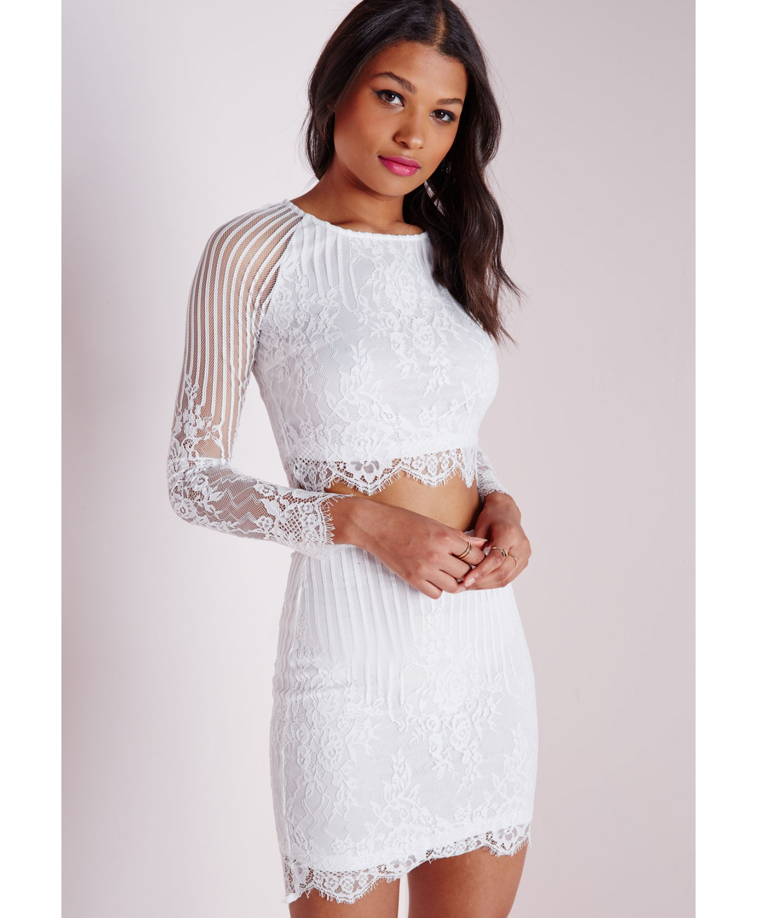 Missguided Long Sleeve Striped Lace Crop Top White in ...
