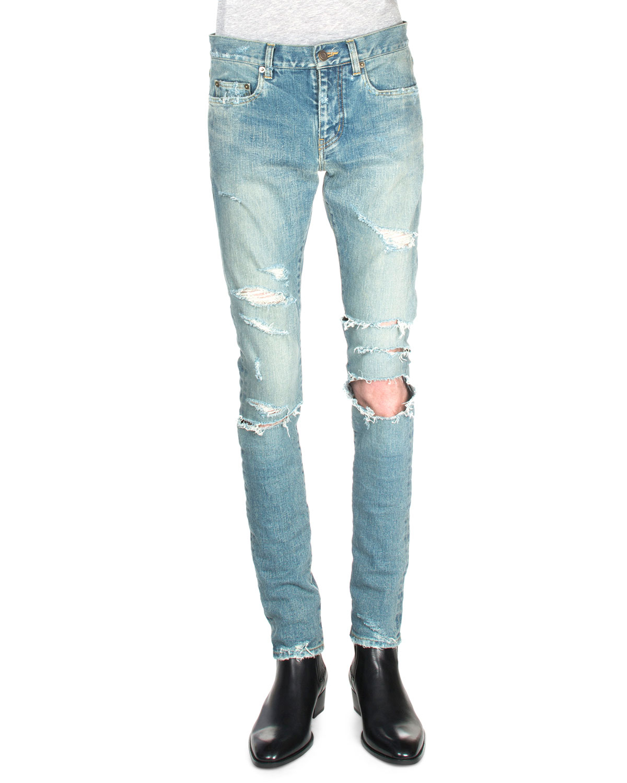 da0c36d24f8 Saint Laurent Trashed Ripped-knee Denim Jeans in Blue for Men - Lyst