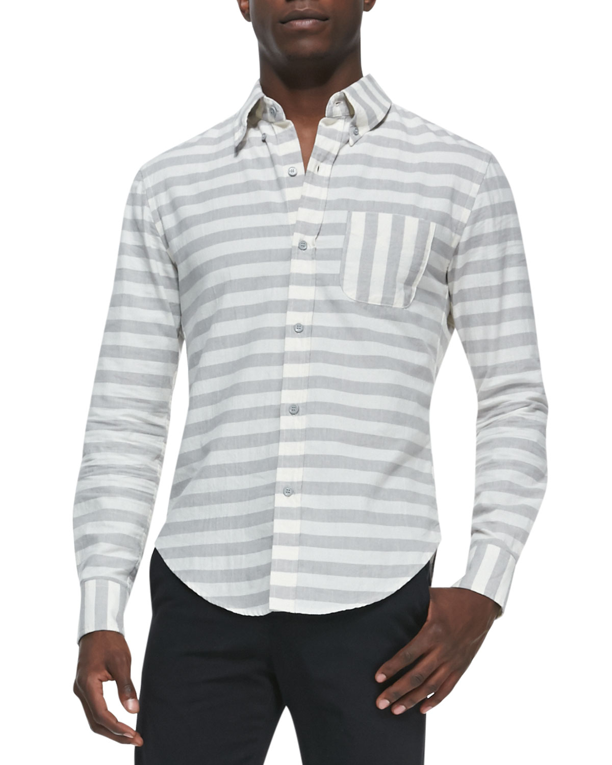 Band of outsiders horizontal stripe button down shirt in for Grey button down shirt