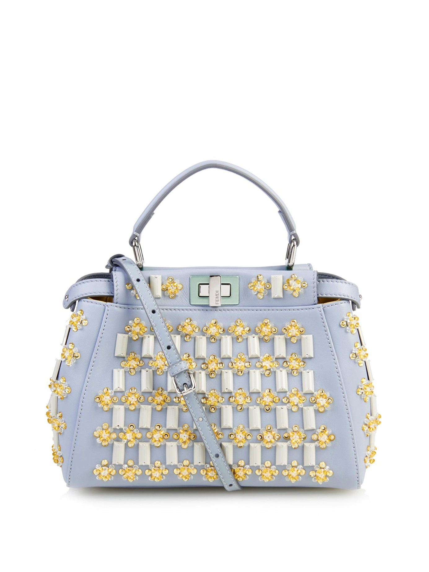 7d50324e2e2f ... coupon code for lyst fendi mini peekaboo floral embellishments cross  body bag in blue 91677 45f5f
