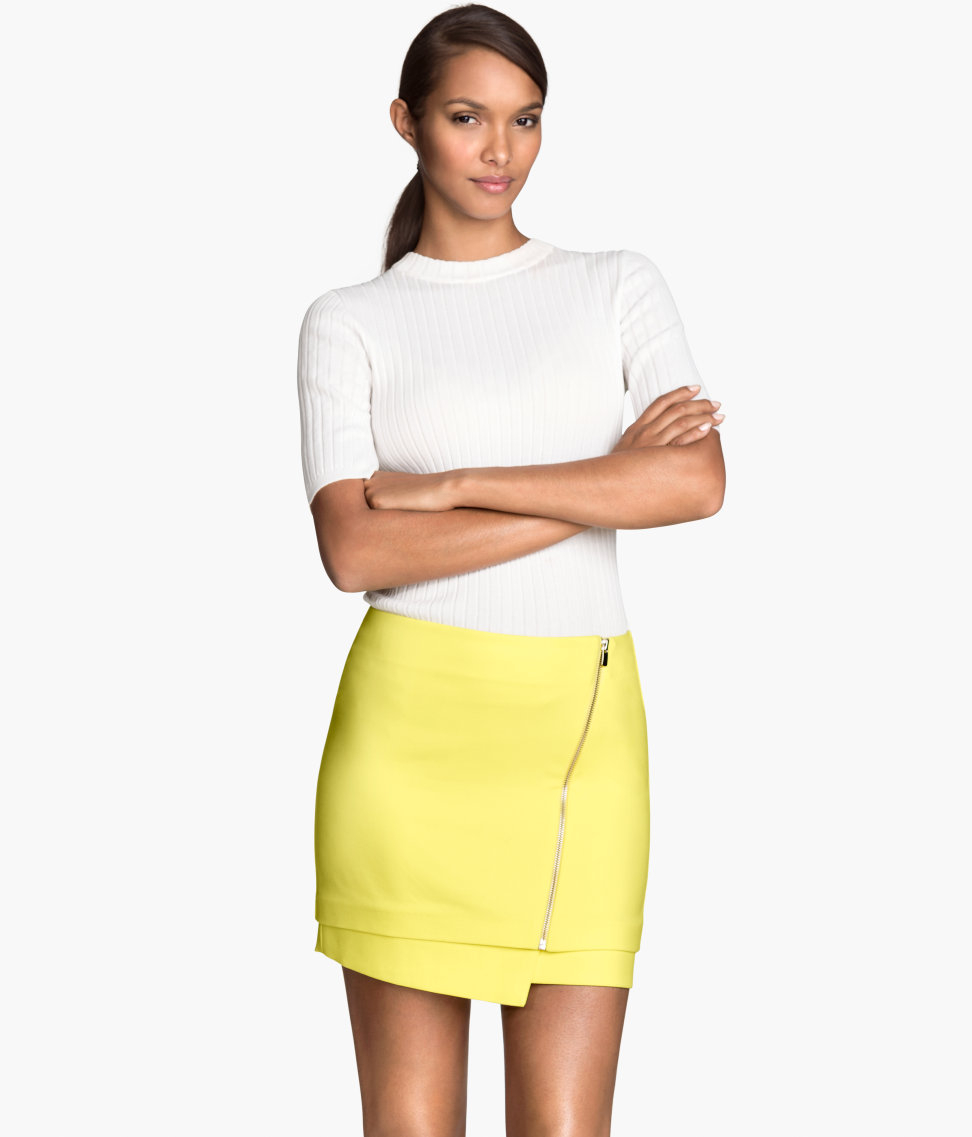 h m skirt in yellow lyst