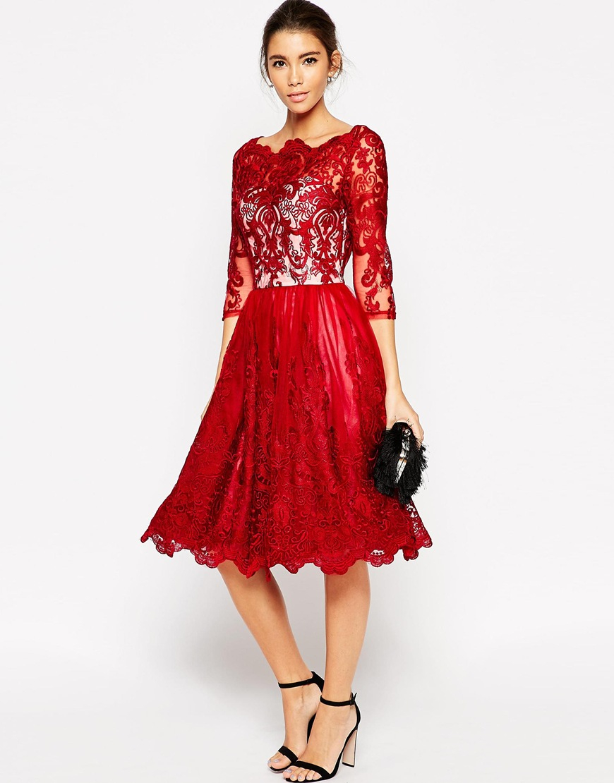 Chi chi london premium lace midi prom dress with bardot for Red midi dress wedding guest
