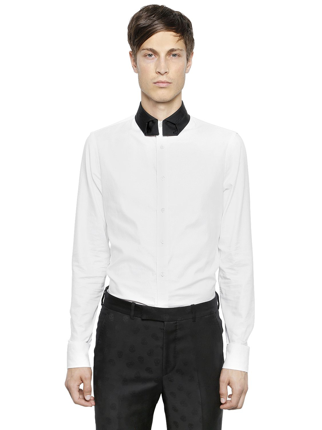 Alexander mcqueen tie collar on cotton oxford shirt in for Oxford shirt with tie