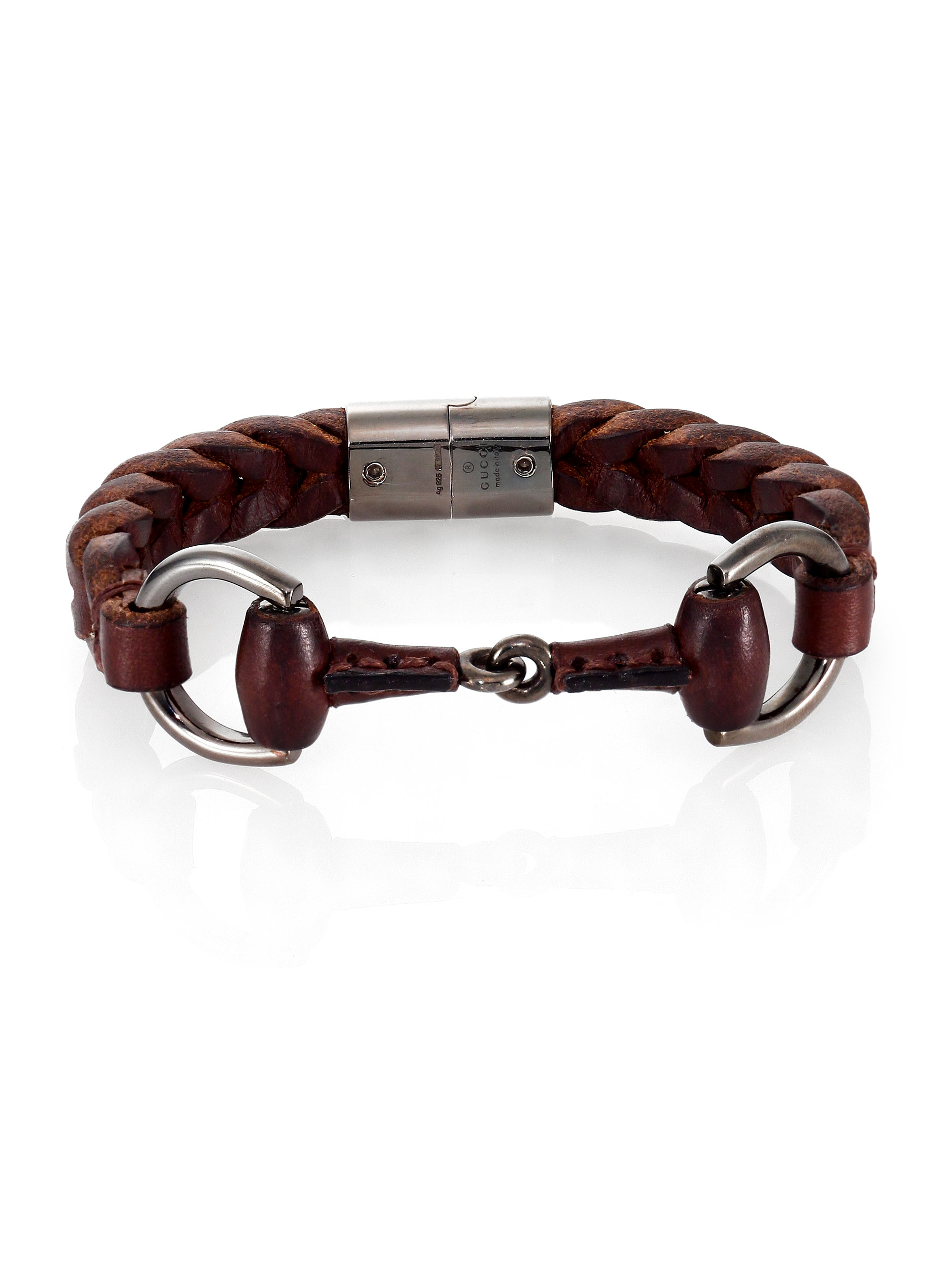 Gucci Braided Leather Amp Sterling Silver Horse Bit Bracelet