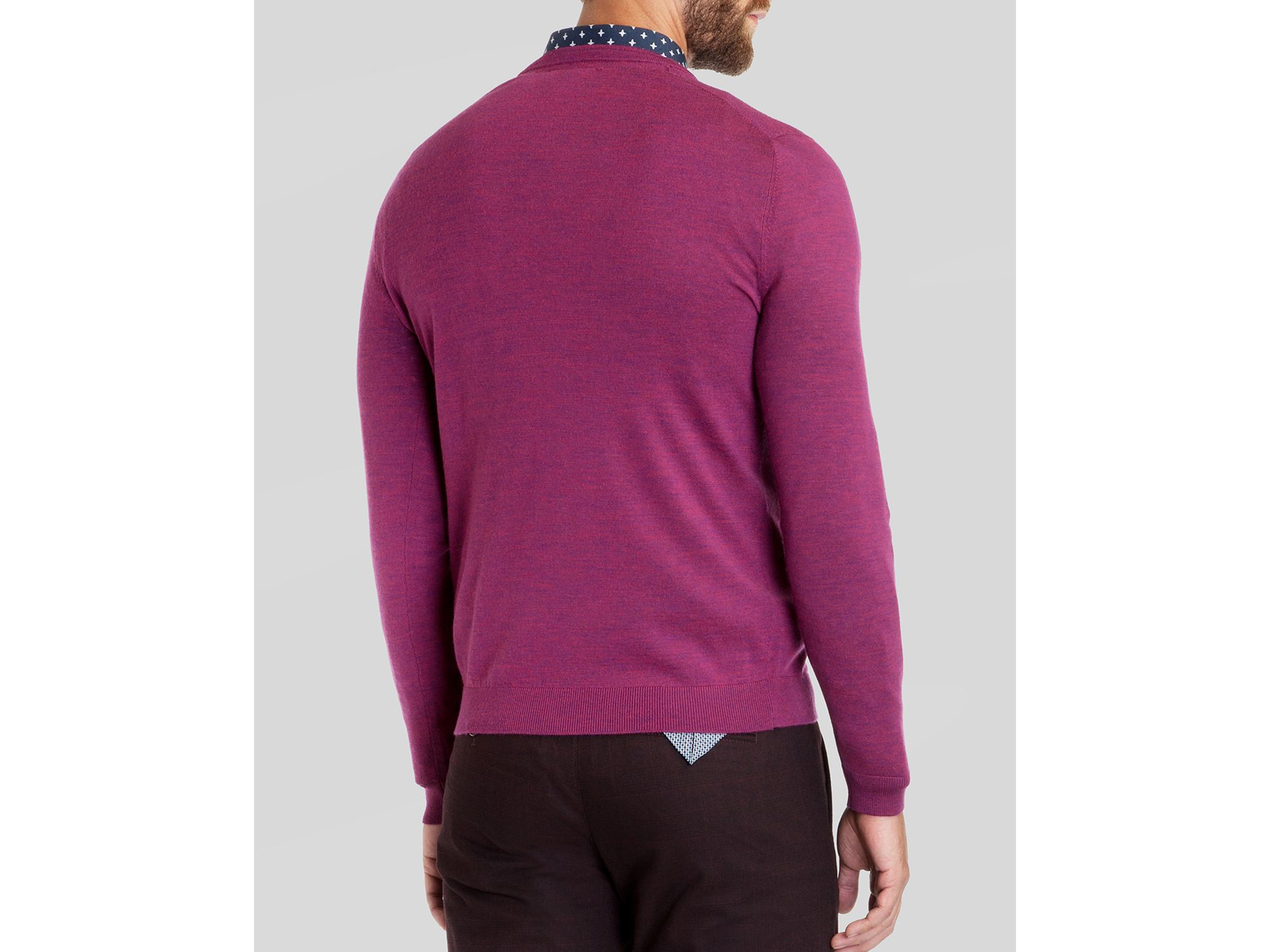 67711d7d48b45 Lyst - Ted Baker Babel Merino Wool V-neck Sweater in Purple for Men