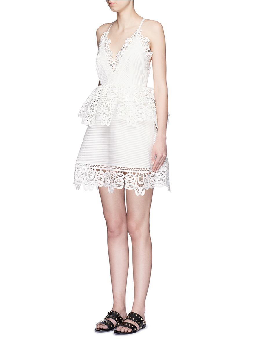 16e42532a3d0ab Self-Portrait Crisscross Back Guipure Lace Trim Peplum Dress in White - Lyst