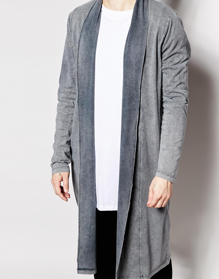 Asos Extreme Longline Shawl Cardigan With Acid Wash in Gray for ...
