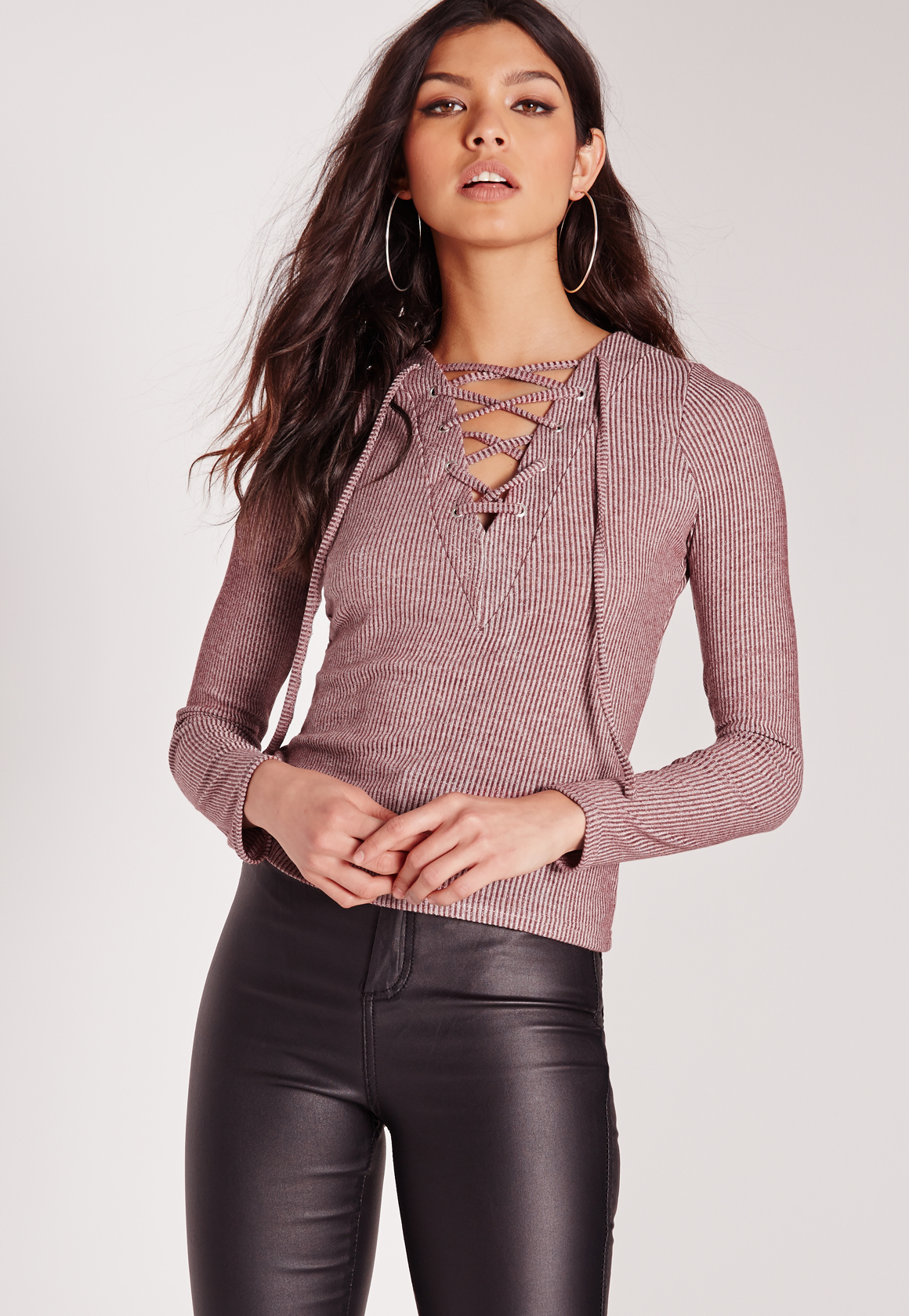 a63d831c96e Missguided Long Sleeve Lace Up Front Crop Top Burgundy in Brown - Lyst