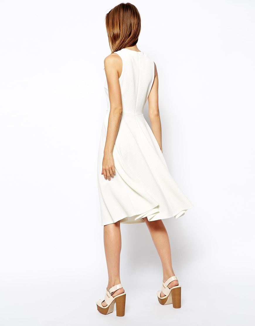 48f630c32 ASOS Midi Skater Dress In Texture With High Neck in White - Lyst