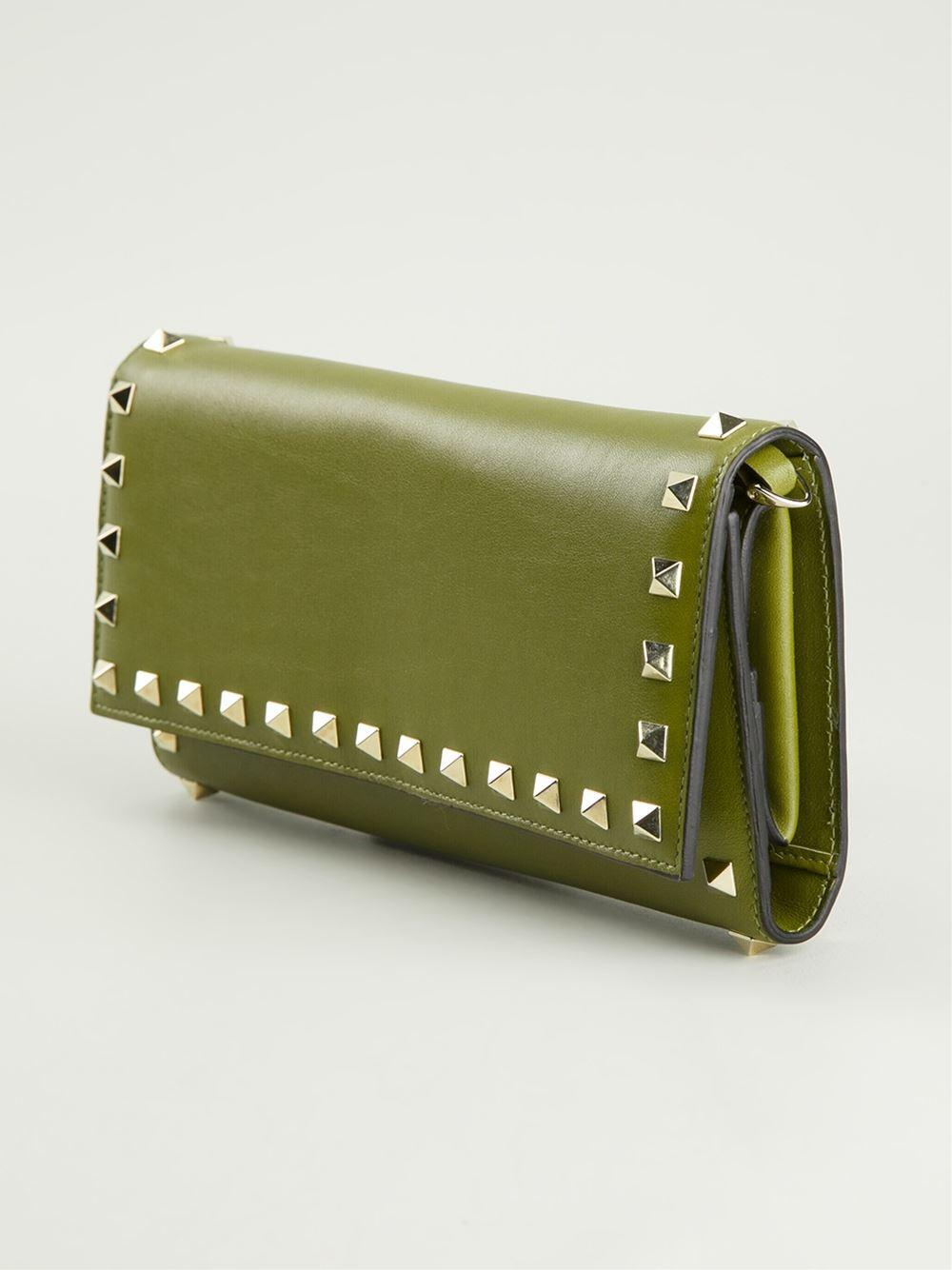 Lyst - Valentino Rockstud Wallet in Green