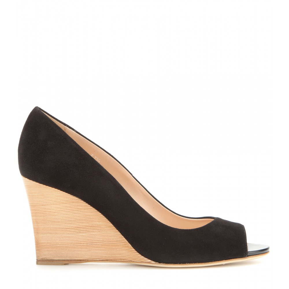 09eb424117 Tod's Suede Peep-Toe Wedges in Black - Lyst
