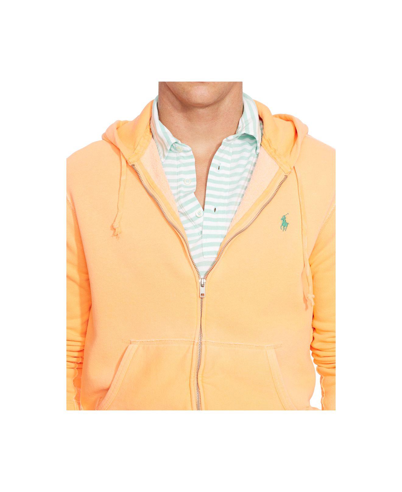polo ralph lauren full zip fleece hoodie in orange for men. Black Bedroom Furniture Sets. Home Design Ideas