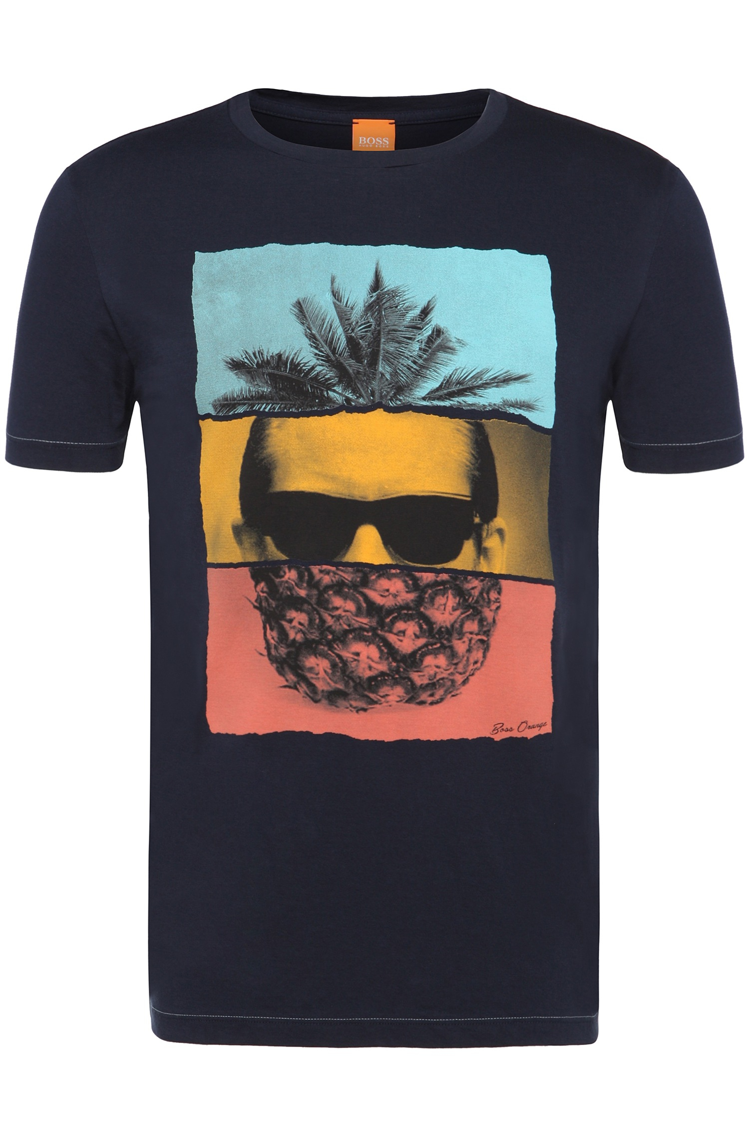boss orange 39 towney 39 cotton pineapple t shirt in blue. Black Bedroom Furniture Sets. Home Design Ideas