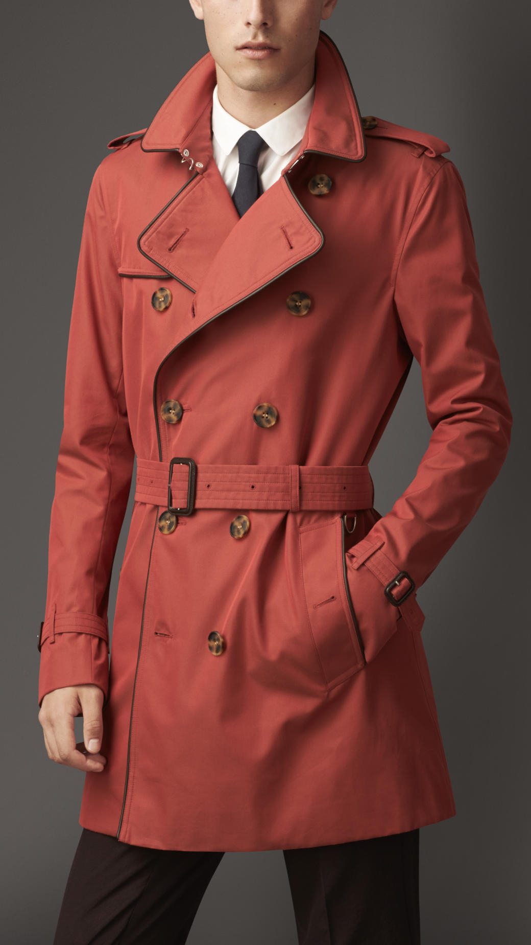 Burberry Midlength Leather Trim Gabardine Trench Coat in ...