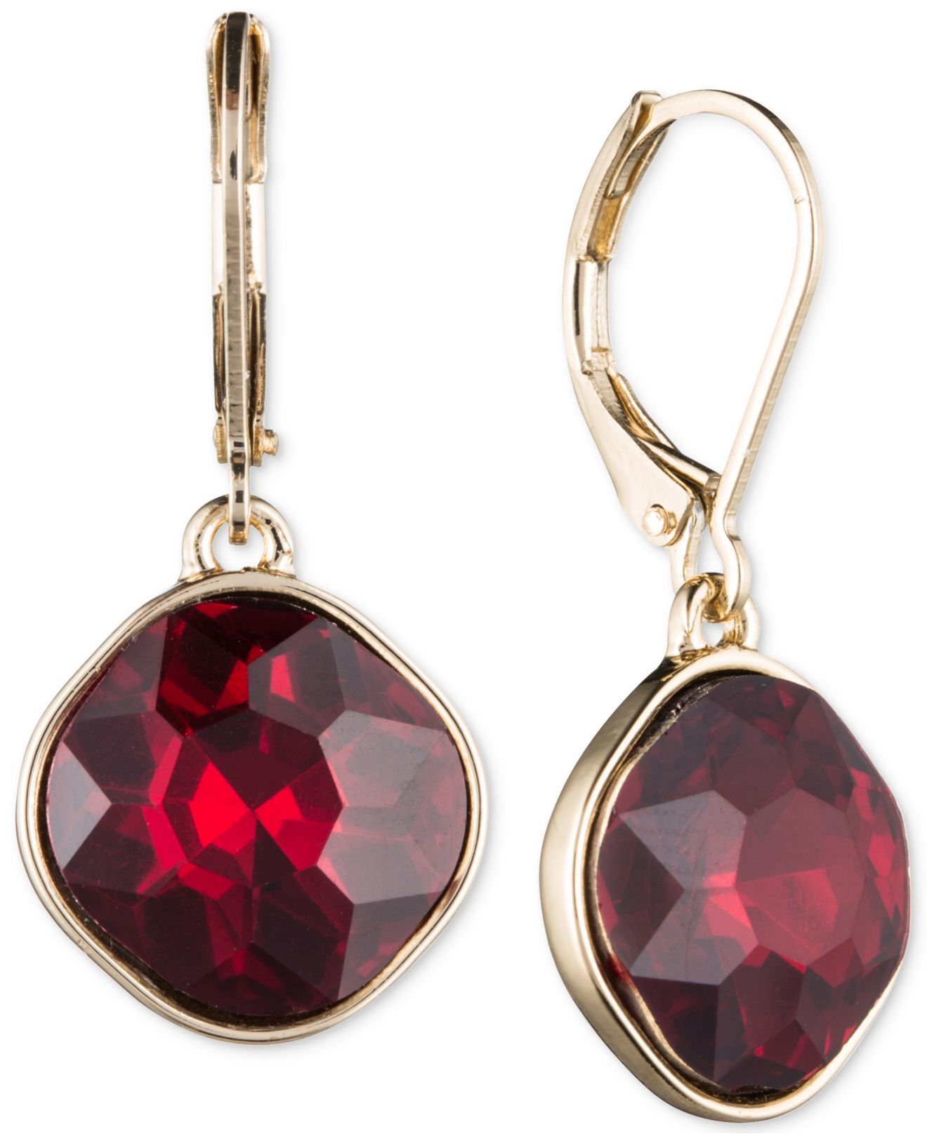 Lyst - Nine west Gold-tone Red Stone Drop Earrings in Metallic