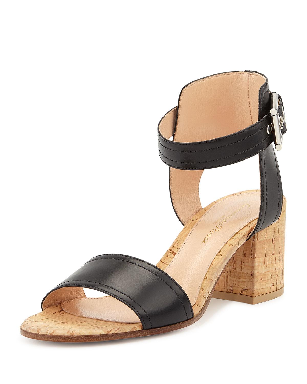 Lyst Gianvito Rossi Leather Cork Block Heel Sandal In Black