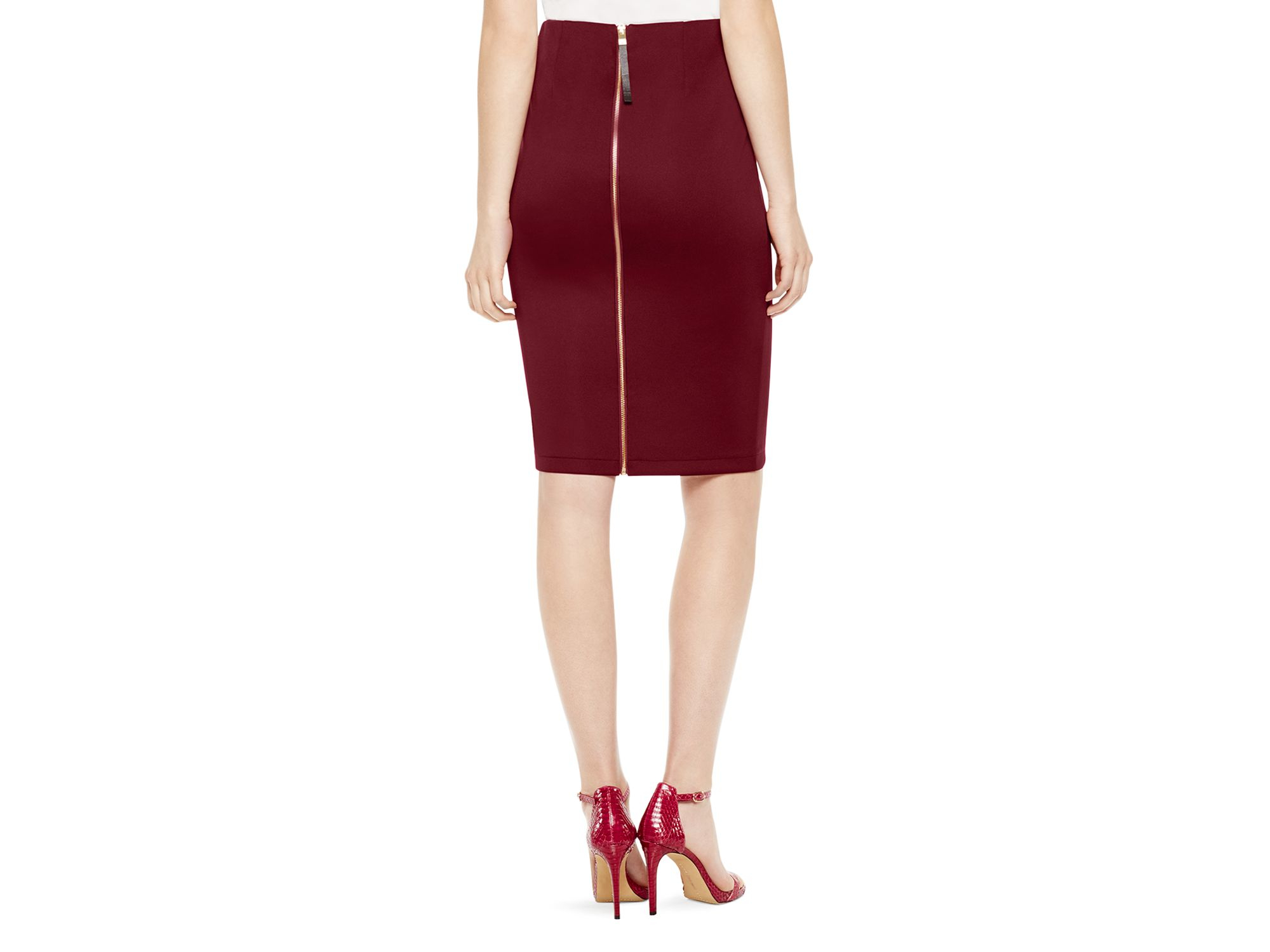 Vince camuto Exposed Zip Pencil Skirt in Purple | Lyst