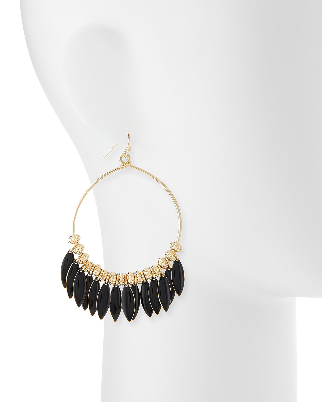 fragments enamel drop hoop earrings in black lyst