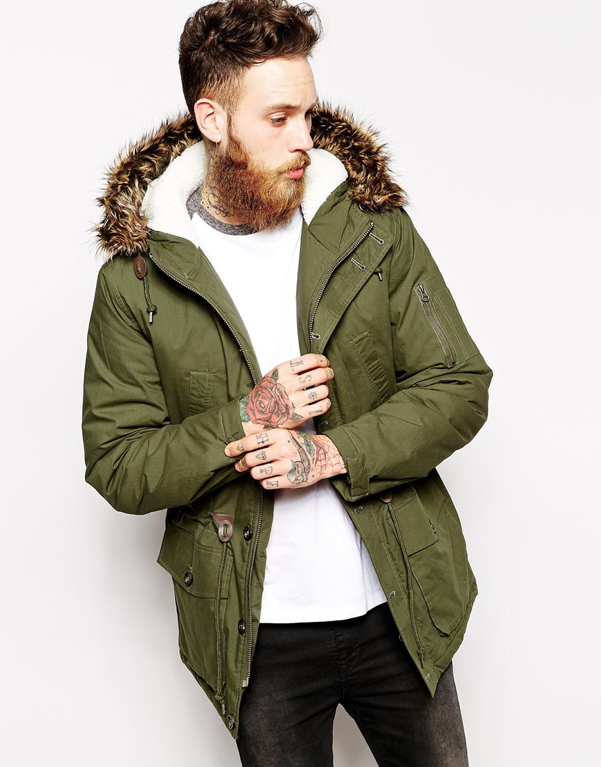Asos Parka Jacket in Green for Men | Lyst